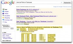 Google - Vol de Paris à Toulouse