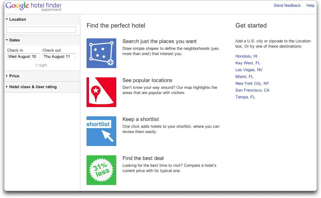 Google Hotel Finder : nouveau service