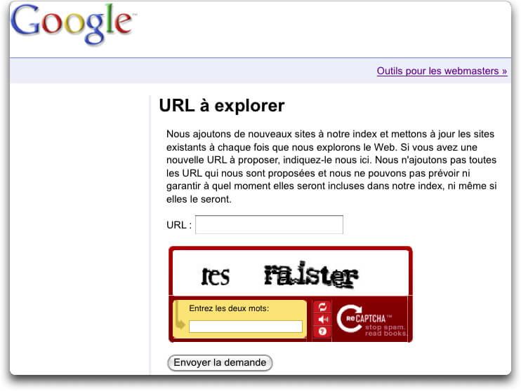 Google outils pour Webmaster : Système d'envoi d'URL