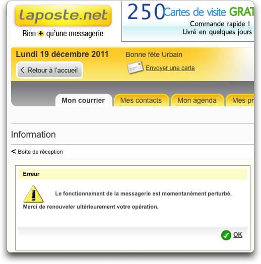 Email Laposte En Panne Lundi 19 Dcembre 2011