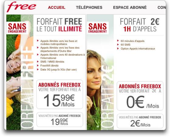Tarif Free Mobile