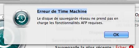 Mac OS Lion et Time Machine: Fonctionnalités AFP requises