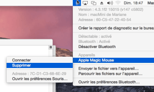 Menu Bluetooth avec touche Alt
