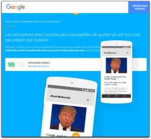 Test ergonomie mobile avec outil Google