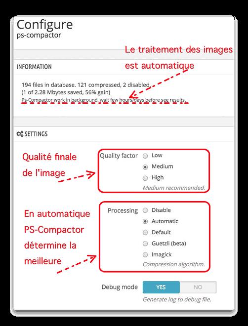 Réglages de PS-Compactor (vu dans votre site PrestaShop)