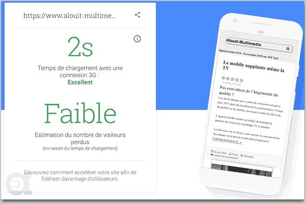 Test de vitesse en version mobile de notre site avec outil PageSpeed de Google le 11 Juillet 2018